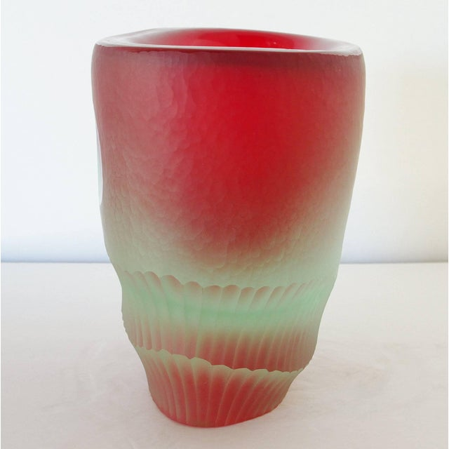 Mid 20th Century Red Murano Glass Vase Sculpture by Romano Dona' For Sale - Image 5 of 8