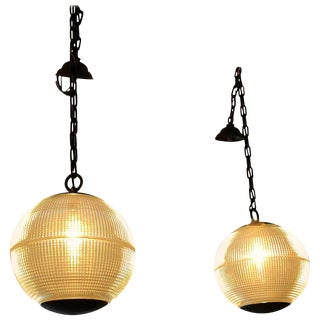 Pair of Fabulous Authentic Parisian Streetlight Spherical Pendants For Sale