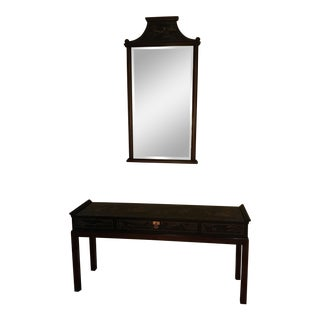 1990s Chinoiserie Drexel Et Cetera Console & Mirror - 2 Pieces For Sale