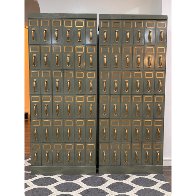 Mid 20th Century Vintage Industrial Filing Cabinets 36 Drawers-a Pair For Sale In Houston - Image 6 of 13