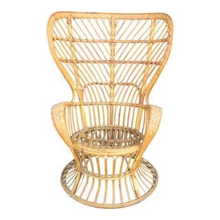Franco Albino Rattan High Back Wing Chair
