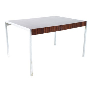 Mid-Century Milo Baughman Style Chrome and Laminate Expanding Dining Table For Sale