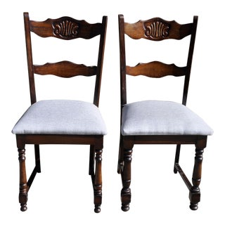 1970s French Country Reupholstered Oak Carved Dining Chairs - Set of 2 For Sale