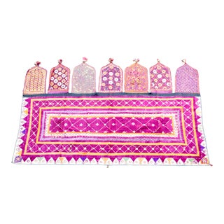Late 20th Century Vintage Indian Handwoven Textile Wall Hanging For Sale