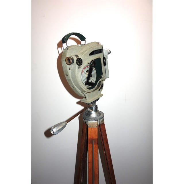 1956 Austrian Motion Picture Camera on Wood Tripod Vintage Perfect Display For Sale - Image 4 of 12