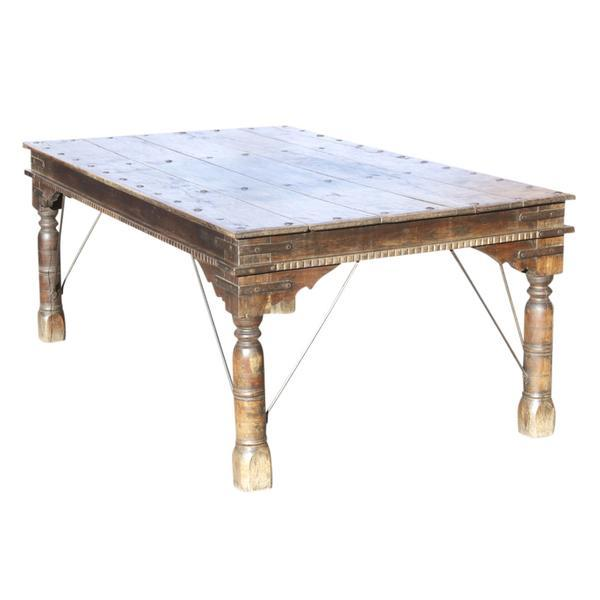 Late-19th-century Thakat table made of pale teak from the Thar Desert, Western Rajasthan, India. Minor wear and some...