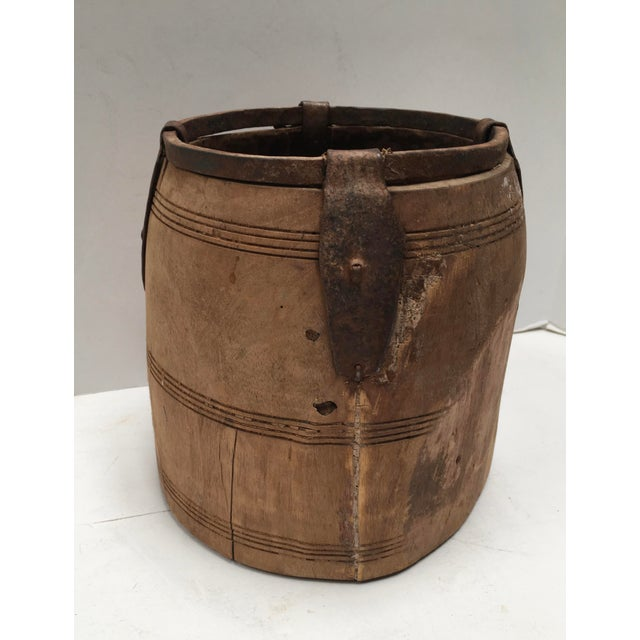 Antique Primitive Handmade Wood and Metal Grain Bucket For Sale - Image 5 of 9