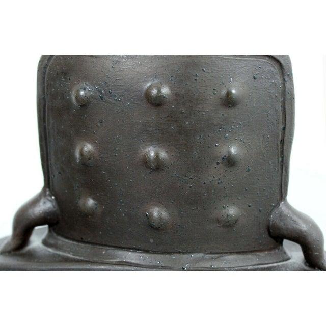 Blue Mid Century Modern Studio Ceramic Red Square Vessel Vase Table Sculpture For Sale - Image 8 of 9