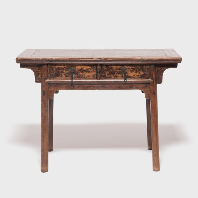 Brown 19th Century Chinese Two Drawer Provincial Table For Sale - Image 8 of 8