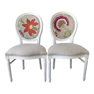 Louis XV Style Round Back Side Chairs -Manuel Canovas Bordeaux Fabric