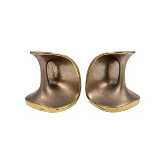 Vintage Maison Gourmet Jenfredware by Ben Seibel Modernist Mid-Century Copper / Brass Patina Bookends - a Pair For Sale