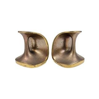 Vintage Maison Gourmet Jenfredware by Ben Seibel Modernist Mid-Century Copper / Brass Patina Bookends - a Pair For Sale