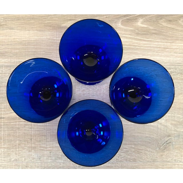 1970s Vintage Cobalt Glass Goblets, Set of 4 For Sale - Image 5 of 7