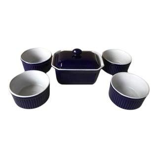 1980s Emile Henry Stoneware Ramekins and Lidded Dish - Set of 5 For Sale