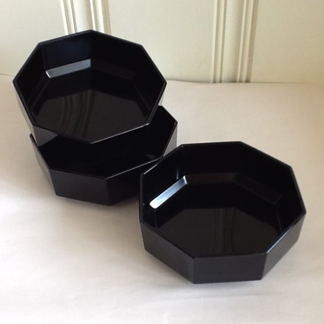 Black Ceramic French Bowls - Set of 3 For Sale - Image 5 of 10