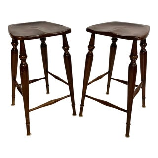 Hand Crafted Solid Wood Bar Stools - a Pair For Sale