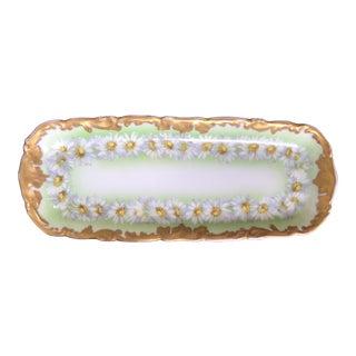 "Antique Limoges T&v France Gilded Green ""Daisy Chain "" Platter For Sale"