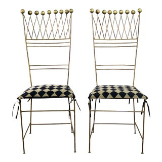 Pair Gilt Iron Chairs Crown or Harlequin Style Ball Finials Art Deco Hollywood Regency For Sale