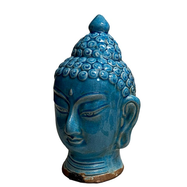Early 20th Century Early 20th Century Blue Glazed Buddha Head For Sale - Image 5 of 12