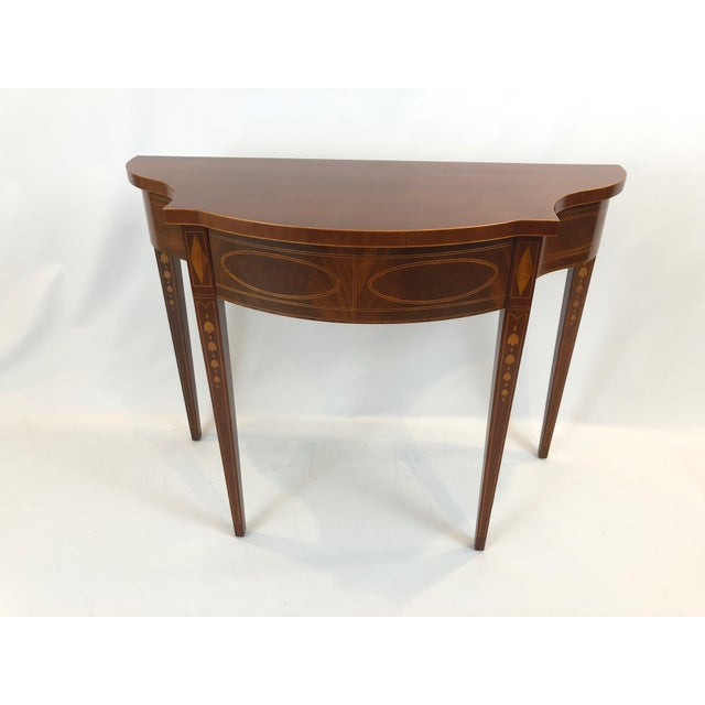 Serpentine Flame Mahogany and Inlaid Console Table For Sale - Image 10 of 10