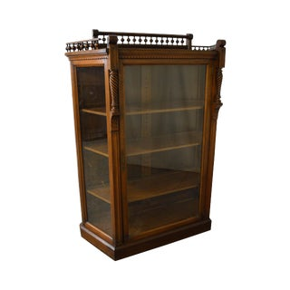 Allen Brothers Victorian Aesthetic Movement Antique Walnut Bookcase For Sale