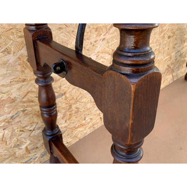 Brown 19th Spanish Console Table With Iron Stretcher and Shaped Legs, Side Table, Baroque For Sale - Image 8 of 11