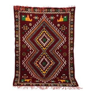 Vintage Hand-Knotted Moroccan Berber Tribal Rug For Sale