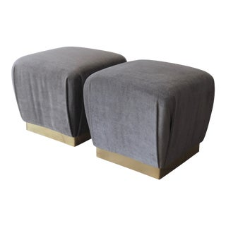 Pair of Ottomans or Poufs in Silvery Olive Green Mohair with Brass Plinth Bases For Sale