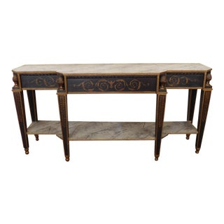 Hand-Painted 1940s Neoclassical Sheraton Style Dining Room Sideboard Console Table For Sale