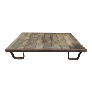 20th Century Industrial Pallet on Metal Legs For Sale