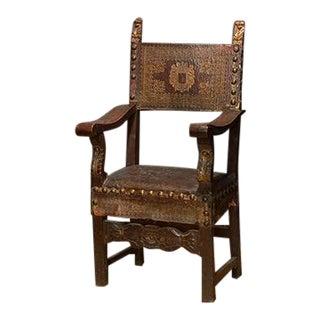 Late 18th Century Italian Walnut & Leather Armchair For Sale