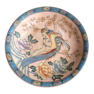 Vintage Chinoiserie Macau Decorative Bowl For Sale
