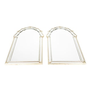 Vintage Silvered / Gold Wood Framed Hanging Wall Mirrors - a Pair For Sale