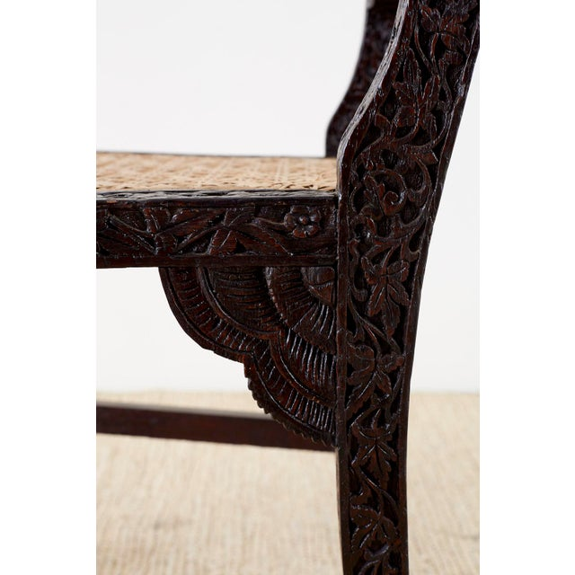 Anglo Indian Carved Rosewood Desk Chair For Sale - Image 9 of 13