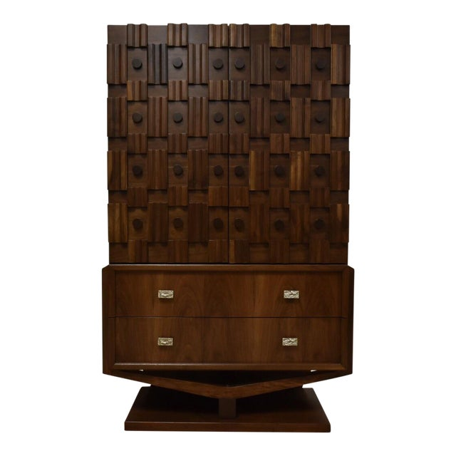 Brutalist Walnut Armoire - Image 1 of 11
