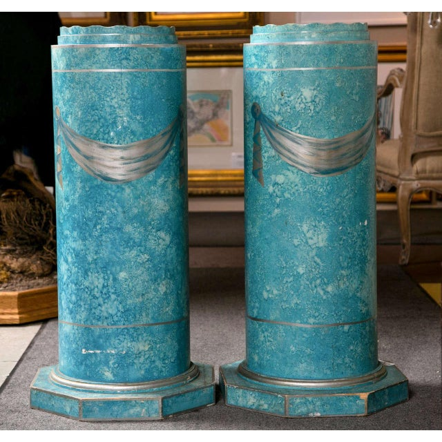 Turquoise Blue Painted Pedestals - A Pair For Sale - Image 8 of 8