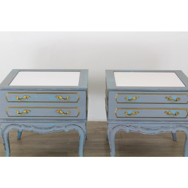 1960s Mid-Century French Provincial Nightstands, a Pair - Vintage Nightstands - Gray Nightstands - Shabby Chic Nightstand - Blue Nightstans For Sale - Image 5 of 9
