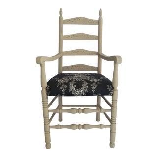 1960s Vintage Oak Ladderback Armchair For Sale