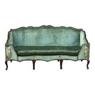 1950s Antique French Sofa With Seafood Velvet Fabric For Sale