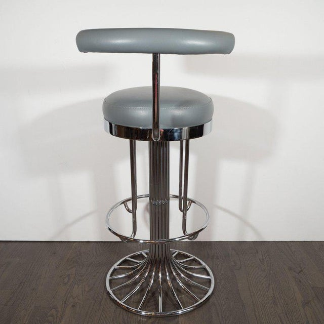 Chrome Set of Three Mid-Century Modern Chrome and Dove Gray Swivel Bar Stools For Sale - Image 7 of 8