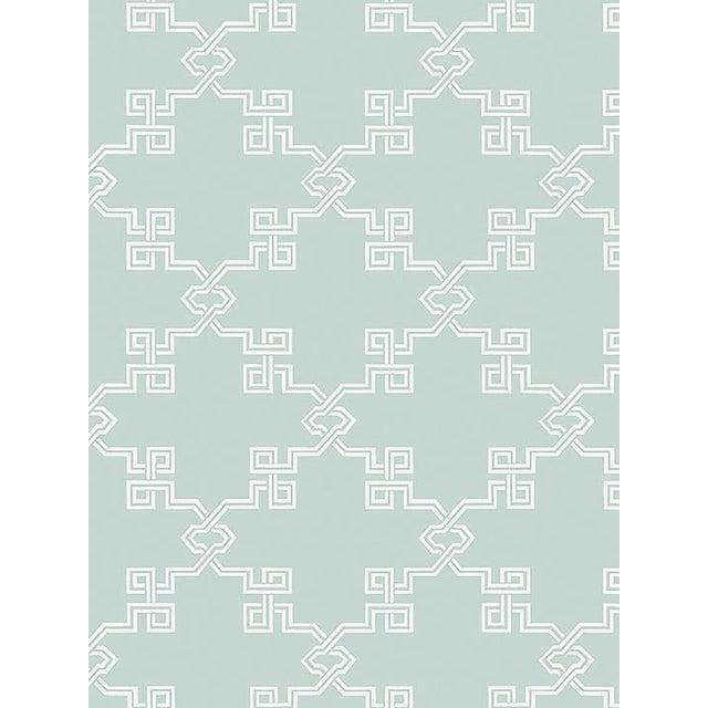 Chinoiserie Sample, Scalamandre Suzhou Lattice, Aquamarine Wallpaper For Sale - Image 3 of 3