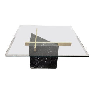 Mid Century Modern Artedi Black Marble Glass and Brass Coffee Table For Sale