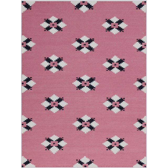 Zara Southwestern Pink Flat-Weave Rug 8'x10' For Sale - Image 4 of 4
