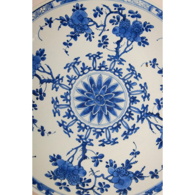Blue 17th Century Antique Chinese Ming Porcelain Blue and White Deep Charger Bowl For Sale - Image 8 of 12