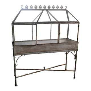 Large Iron and Glass Antique Terrarium/Greenhouse For Sale