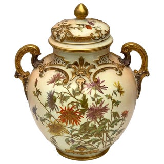 Exquisite Royal Worcester Pierced Covered Vase, With Floral Decoration, 1905 For Sale