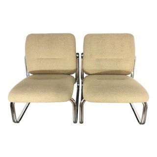 Pair of Vintage 1980s Chrome and Fabric Steelcase Lounge Chairs For Sale