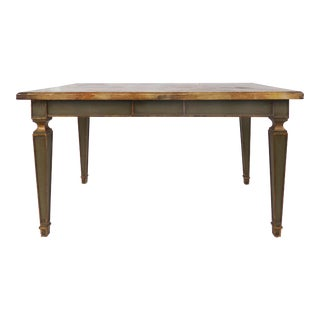 Faux Painted Writing Library Table With Green & Gilt Tapering Legs For Sale