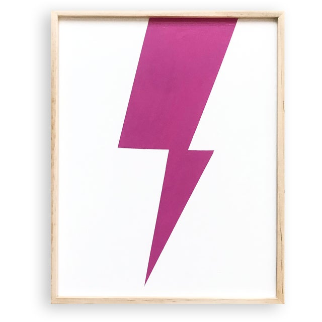 """Wood Max & Alma Wolf """"Pink Lightning"""" Acrylic Painting For Sale - Image 7 of 7"""