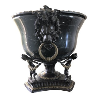 Neoclassical Black Marble and Brass Urn Jardiniere Pair For Sale